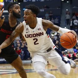 The Houston Cougars take on the UConn Huskies in a men's college basketball game at the XL Center in Hartford, CT on February 14, 2019.