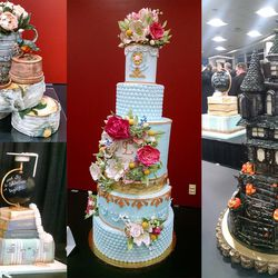 The winning cakes at the RootsTech cake competition are, left top, Brenda Francis in the birthday category, bottom, Carisa Brisk in the graduation category, Betheny Tomseth in the wedding category and Elly Carter won in the holiday category.