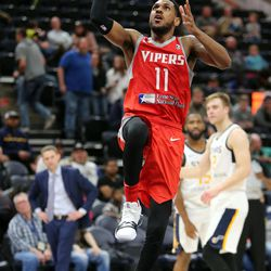 Rio Grande Valley Vipers' Monte Morris plays in an NBA G league basketball game against the Salt Lake City Stars at the Vivint Smart Home Arena in Salt Lake City on Monday, Nov. 27, 2017. Morris' former Iowa State teammate Naz Mitrou-Long plays for the Salt Lake City Stars.