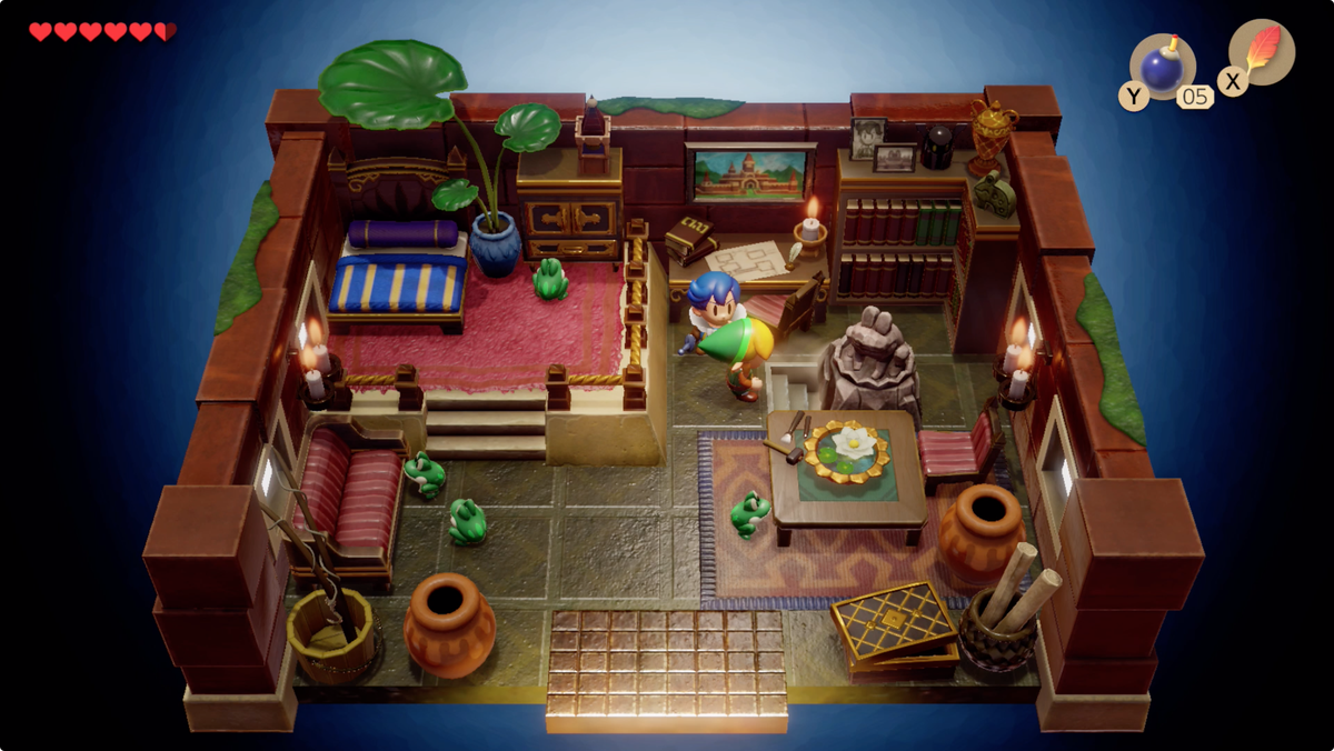Link's Awakening Richard Pothole Field return with all five Golden Leaves, push the statue, and find some stairs