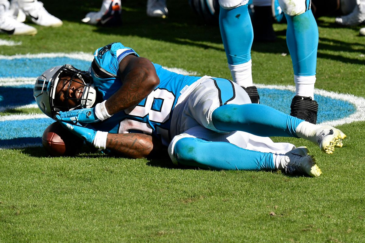 Mike Davis of the Carolina Panthers celebrates after scoring a touchdown in the fourth quarter against the Chicago Bears at Bank of America Stadium on October 18, 2020 in Charlotte, North Carolina.