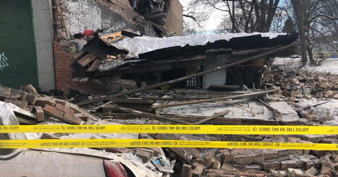 Building with snowy roof collapses in Englewood