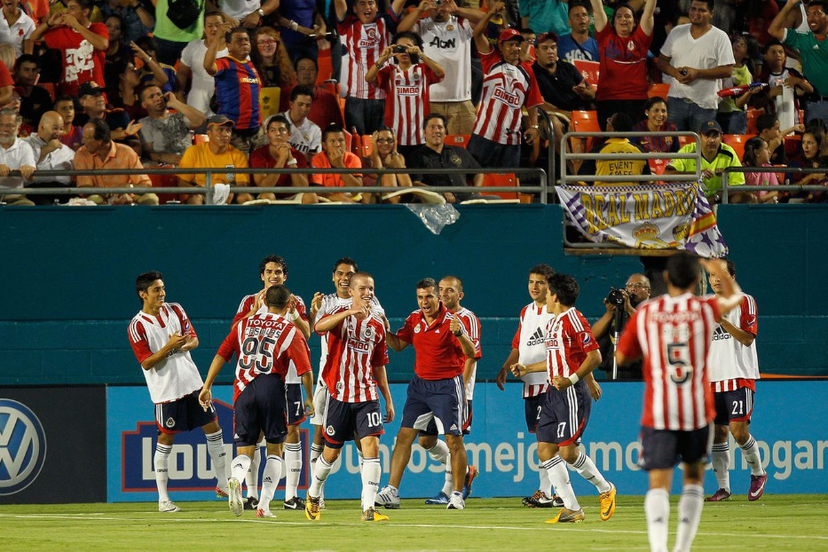 CD Guadalajara had some success earlier this summer against FC Barcelona during the 2011 World Football Challenge at Sun Life Stadium on August 3, 2011 in Miami Gardens, Florida. (Photo by Mike Ehrmann/Getty Images)