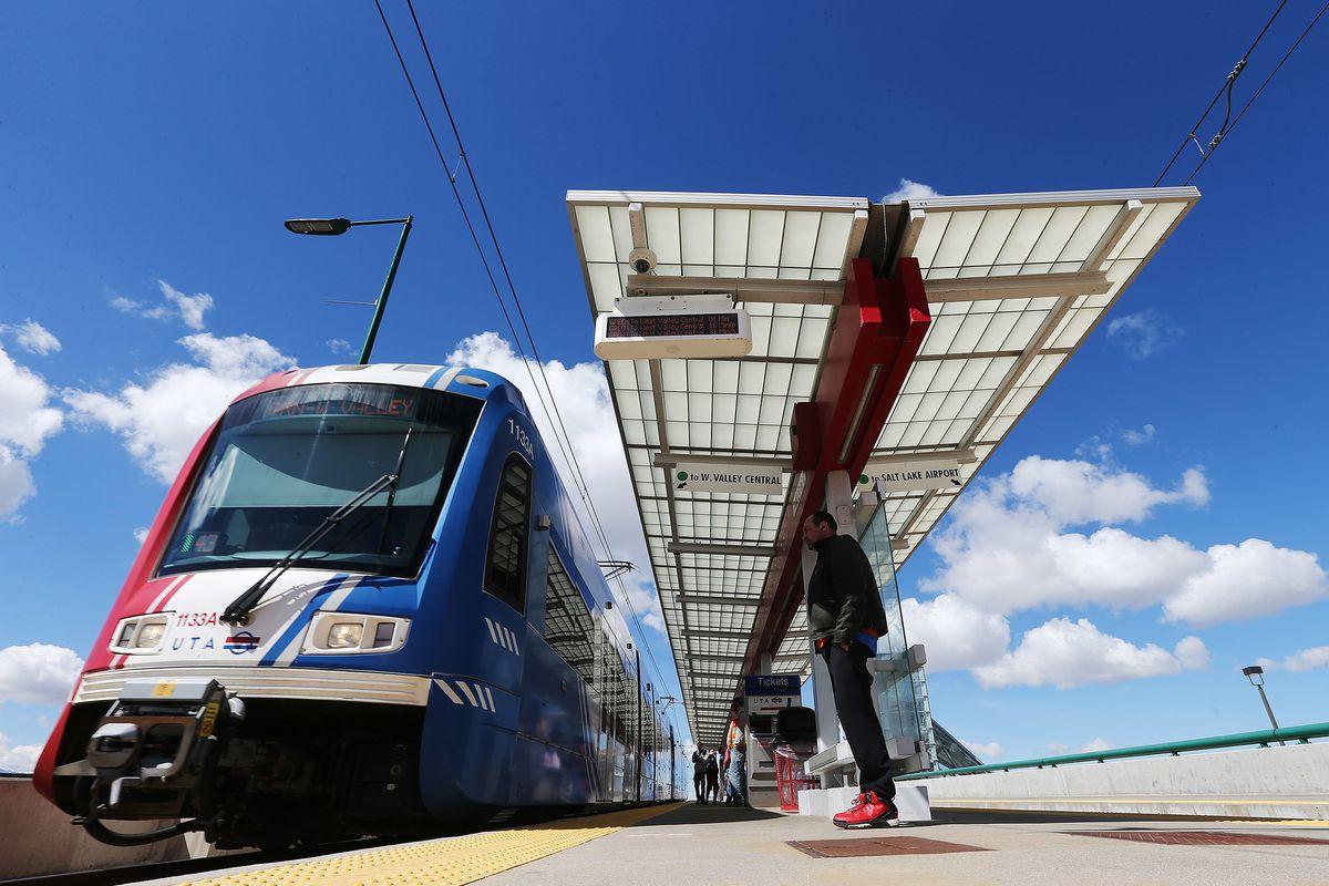 FILE - A TRAX train moves through Salt Lake City on Tuesday, April 4, 2017.