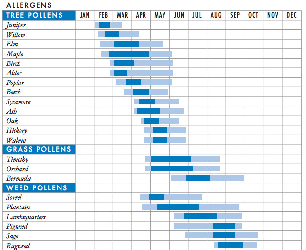 This chart shows the pollen peaks for various species in the mid-Atlantic region of the United States. Tree pollen peaks in the spring, grass pollen peaks in the summer, and weed pollen peaks in the fall.