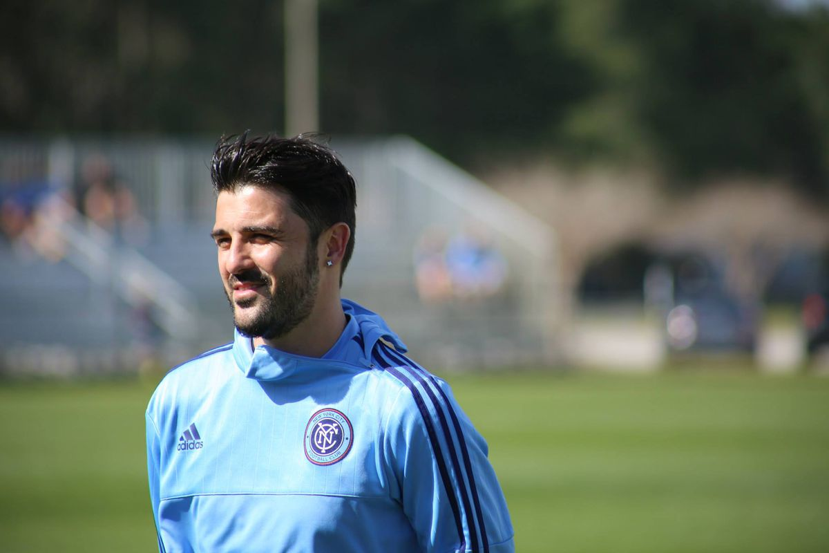 David Villa in training yesterday. He's the new captain of New York City FC