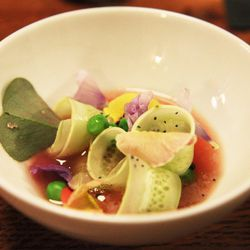 """Gazpacho with Burpless Cucumber, Poppy and Wildflowers at Box Kite Coffee by <a href=https://www.flickr.com/photos/jemappellemichelle/14840030118/in/pool-eater/"""">jemappellemichelle"""