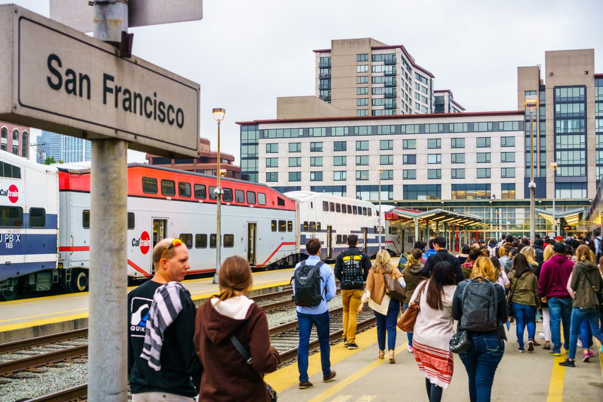 The platform at SF Caltrain Station.