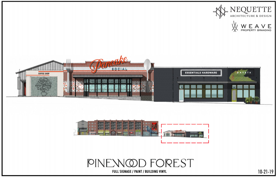 A rendering of three short building planned for the Pinewood Forest mega-development.