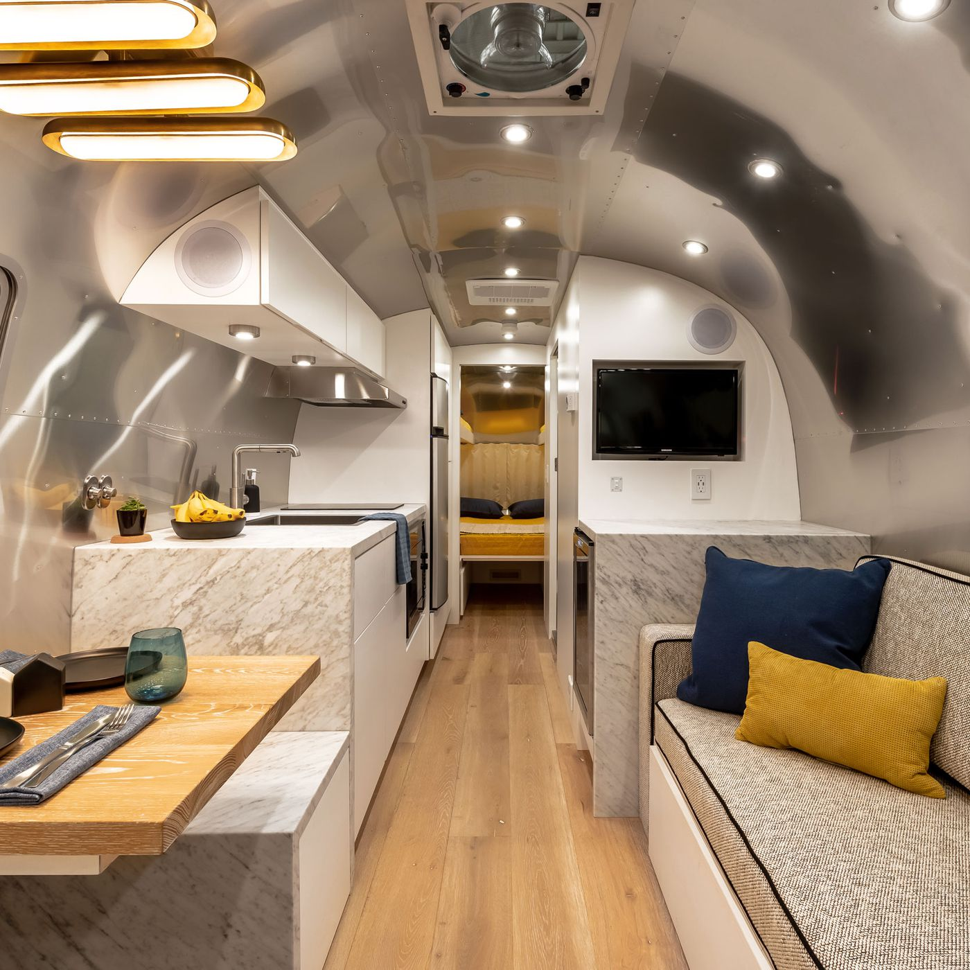 Airstream Caravan Vintage renovated airstream is like a chic apartment on wheels - curbed