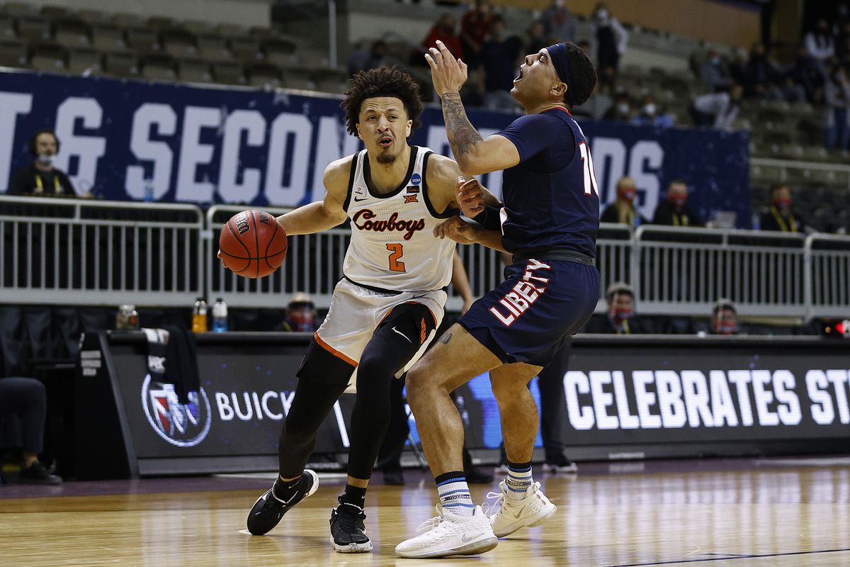 Cade Cunningham of the Oklahoma State Cowboys during the 2021 NCAA Men's Basketball Tournament on March 19, 2021