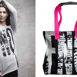 At left: Karlie Kloss, photo by Craig McDean. At right: Navy and pink tote, $50.