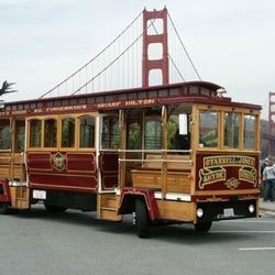 """Cable Car: Only in SF would a <a href=""""http://www.cablecarcharters.com"""">historic cable car</a> (replica, for you sticklers) feel as appropriate. With enough room for over a dozen folks and with 20 cable cars in the fleet, there's plenty of room to take th"""