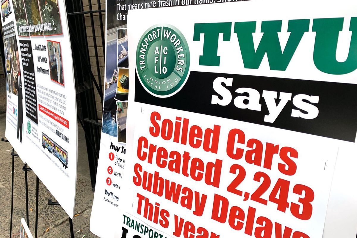 Transport Workers Union soiled subway cars rally