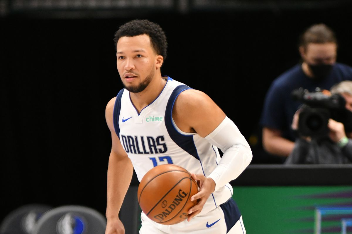 Jalen Brunson of the Dallas Mavericks dribbles the ball during the game against the Portland Trail Blazers on February 14, 2021 at the American Airlines Center in Dallas, Texas.