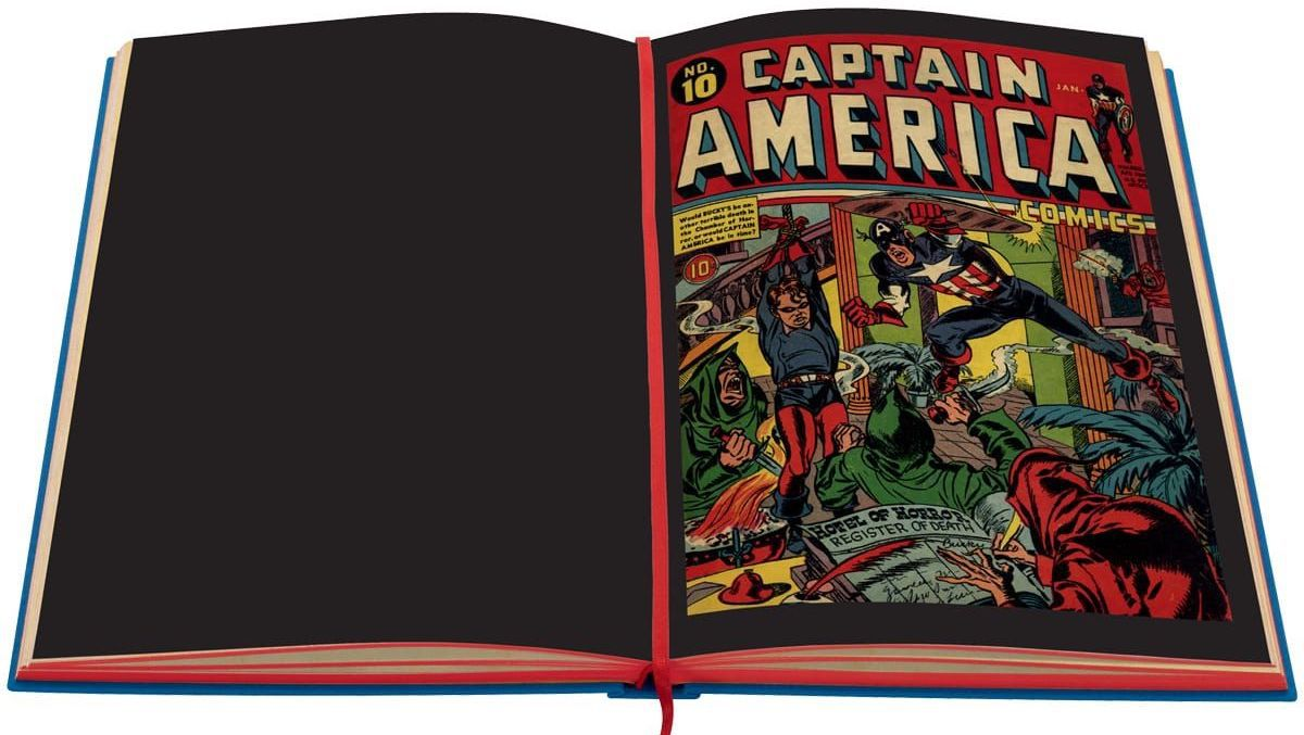 Captain America charges in to rescue Bucky, on the cover of Captain America #10, reproduced in the Folio Society's Marvel: The Golden Age 1939-1949.
