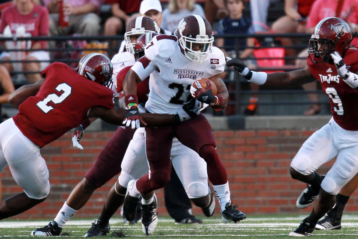 Sept 15, 2012;  Troy, AL, USA;  Mississippi State Bulldogs running back LaDarius Perkins (27) carries the ball against the Troy Trojans at Veterans Memorial Stadium. Mandatory Credit: Marvin Gentry-US PRESSWIRE