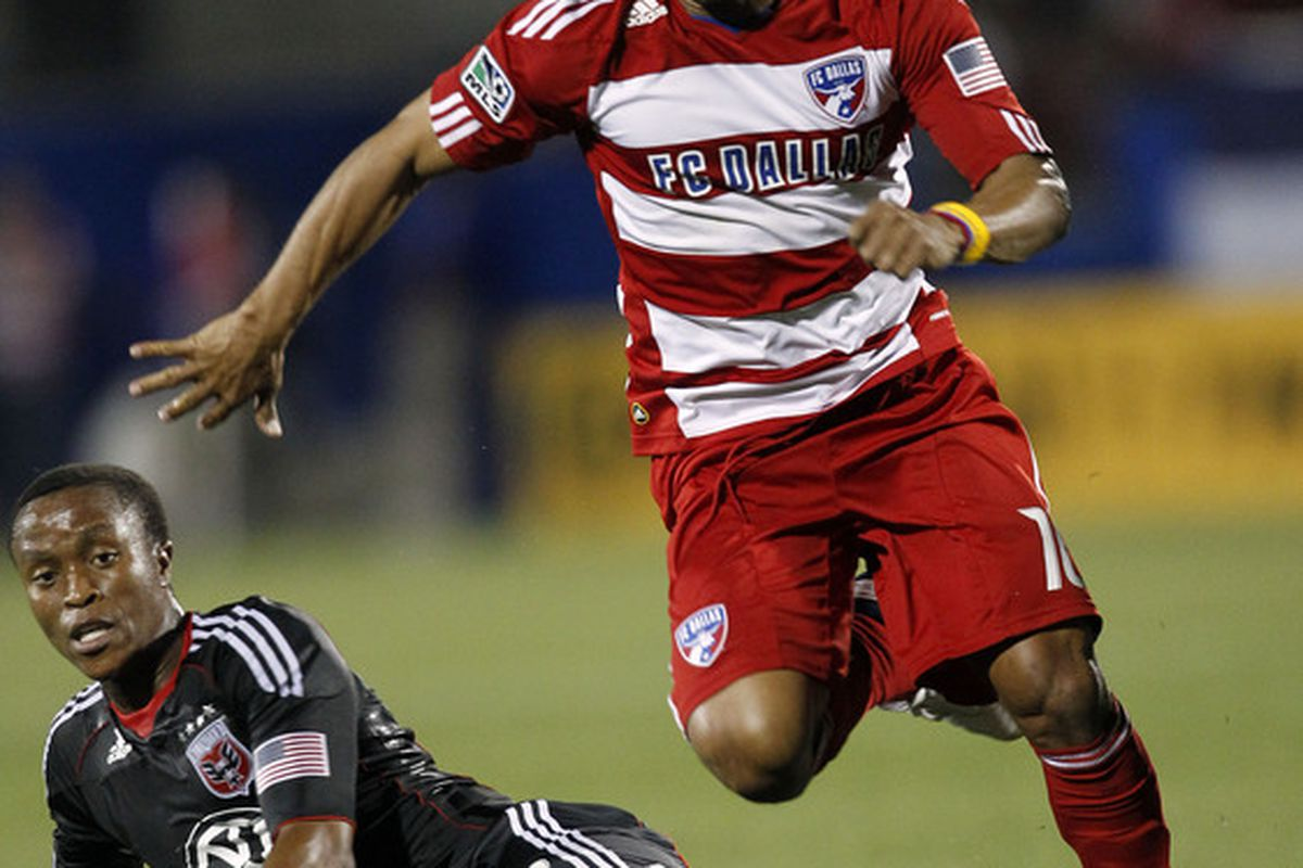 FRISCO, TX - MAY 8: David Ferreira #10 of FC Dallas controls the ball against Thabiso Khumalo #17 of D.C. United at Pizza Hut Park on May 8, 2010 in Frisco, Texas. (Photo by Layne Murdoch/Getty Images)