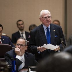Ald. Ed Burke (14th) spars with Mayor Lori Lightfoot during her first Chicago City Council meeting at City Hall, Wednesday, May 29, 2019.