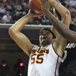 Omar Oraby gets his shot blocked from behind.