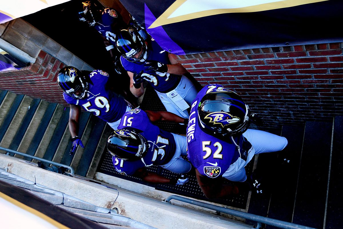 September 10, 2012; Baltimore, MD, USA; Baltimore Ravens linebacker Ray Lewis (52) leads players out of the locker room prior to the game against the Cincinnati Bengals at M&T Bank Stadium. Mandatory Credit: Evan Habeeb-US PRESSWIRE