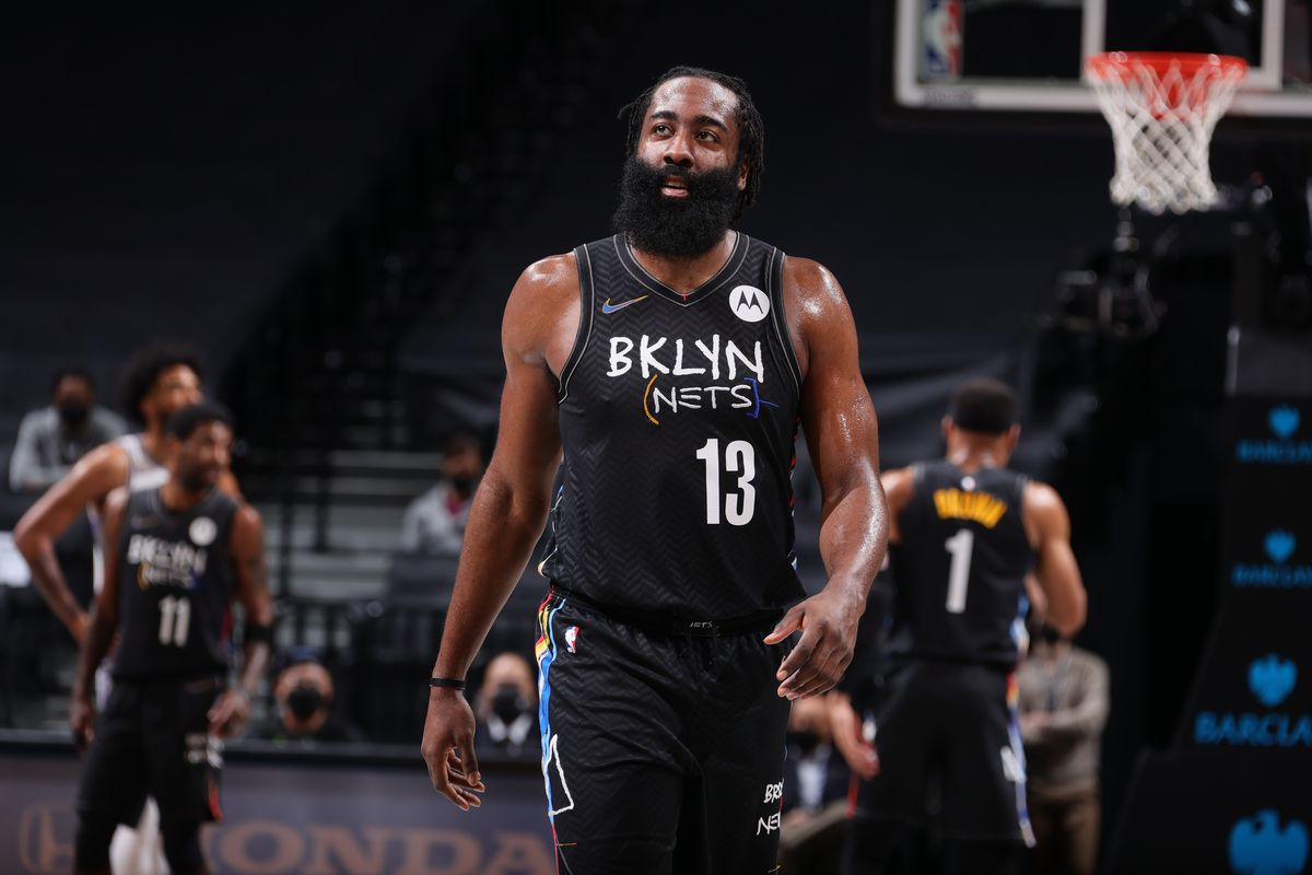 James Harden of the Brooklyn Nets looks on during the game against the Sacramento Kings on February 23, 2021 at Barclays Center in Brooklyn, New York.