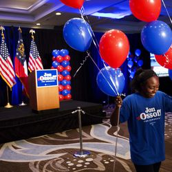 Jordan Chapman positions balloons as she prepares for the election night party of Democratic candidate for 6th congressional district Jon Ossoff in Atlanta, Tuesday, June 20, 2017. The most expensive House race in U.S. history heads to voters Tuesday in suburban Atlanta. Either Republican Karen Handel will claim a seat that's been in her party's hands since 1979 or Democrat Jon Ossoff will manage an upset that will rattle Washington ahead of the 2018 midterm elections.