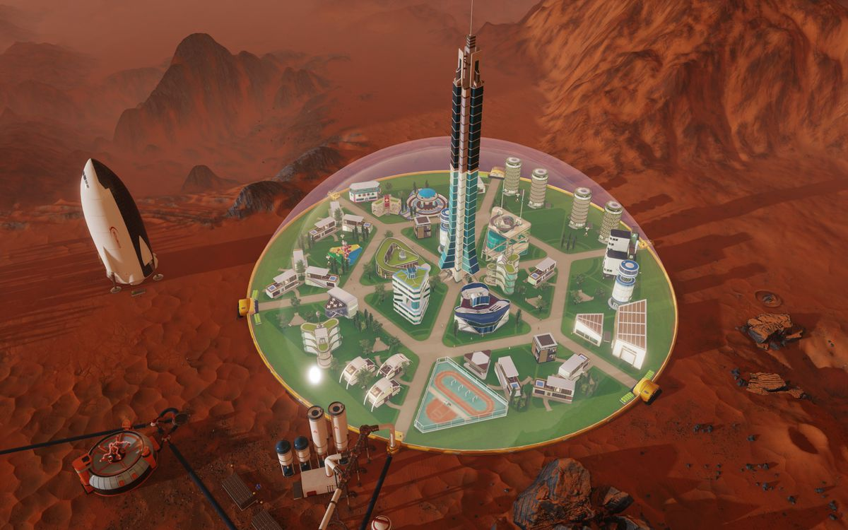 Surviving Mars - biodome from above