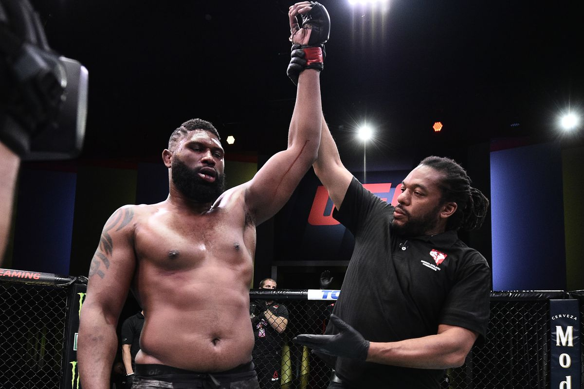 Curtis Blaydes reacts after his decision victory over Alexander Volkov in their heavyweight bout during the UFC Fight Night event at UFC APEX on June 20, 2020 in Las Vegas, Nevada.