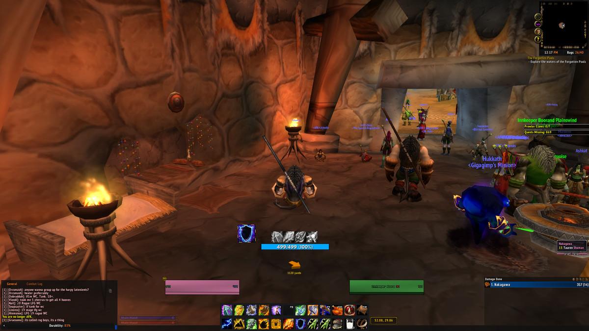 World of Warcraft Classic Tauren Shaman resting in an inn