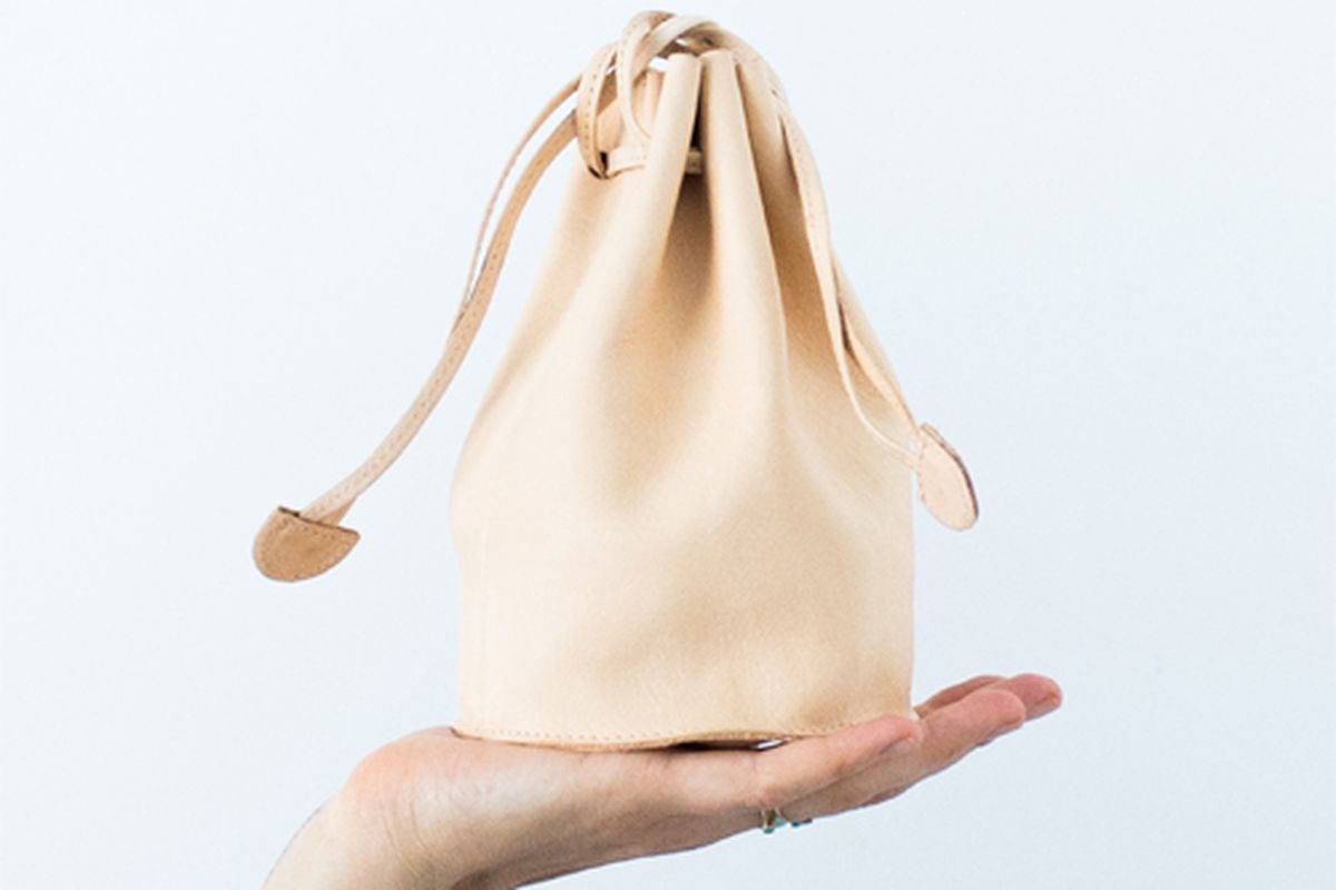 """<b>Baggu</b> Drawing Pouch in Nude, <a href=""""http://store.mociun.com/drawstring-pouch-naked/"""">$60</a> at Mociun"""