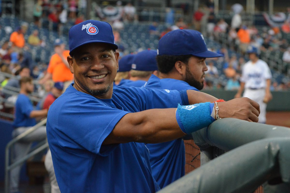 Manny Ramirez in uniform for the Iowa Cubs on Monday night in Omaha