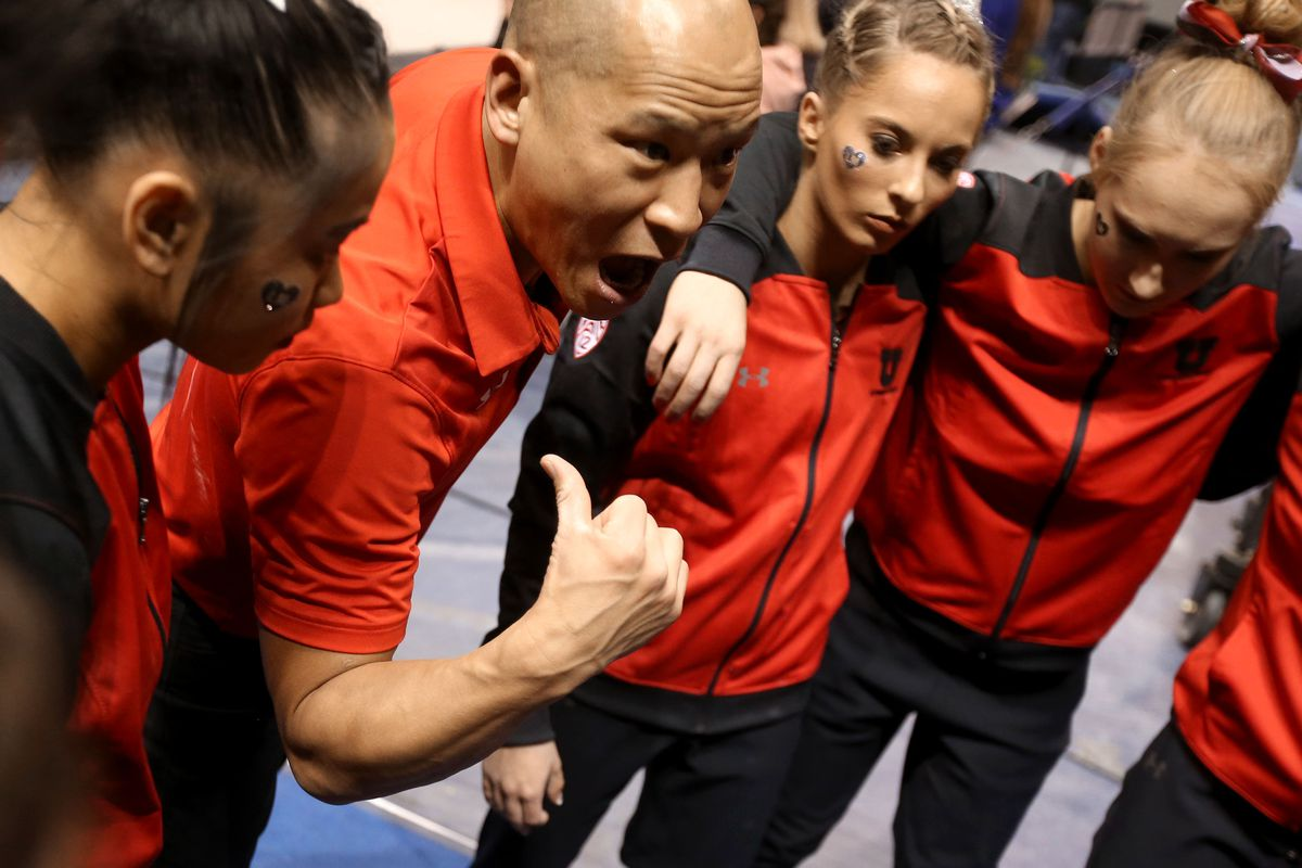 Utah gymnastics coach Tom Farden and 2021 U.S. Olympian MyKayla Skinner stand together as Farden speaks to his team in 2019.