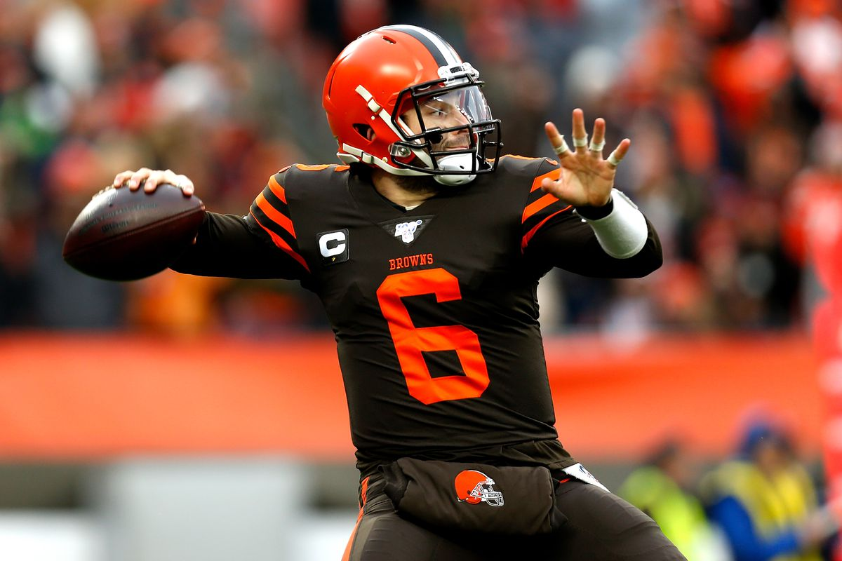 Baker Mayfield of the Cleveland Browns throws the ball during the game against the Cincinnati Bengals at FirstEnergy Stadium on December 8, 2019 in Cleveland, Ohio.