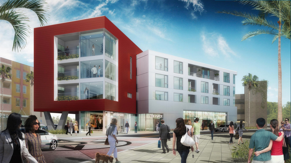A rendering of the project, which looks like two buildings fused together. One section is red, the other white.
