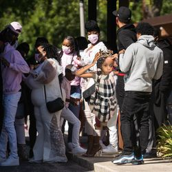Mourners gather outside Abundant Living Christian Center in Dolton during the wake and funeral of eight-year-old DaJore Wilson Friday morning, Sept. 18, 2020. Wilson was fatally shot in Canaryville Sept. 7.