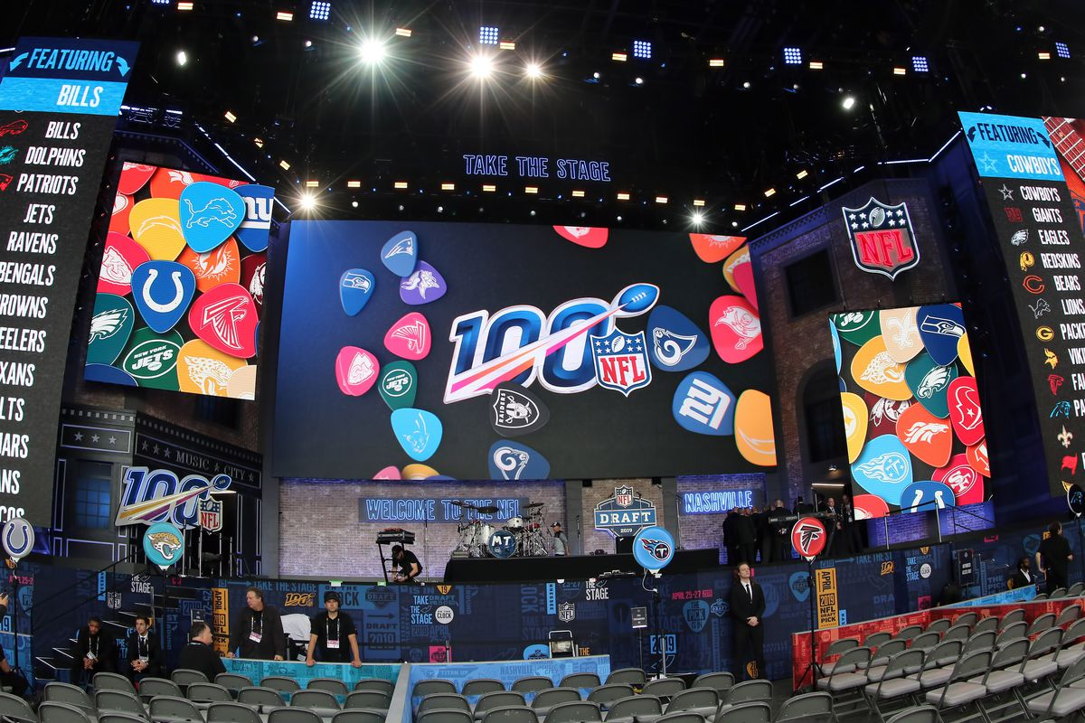A general view of the draft stage before the first round of the 2019 NFL Draft on April 25, 2019, at the Draft Main Stage on Lower Broadway in downtown Nashville, TN.