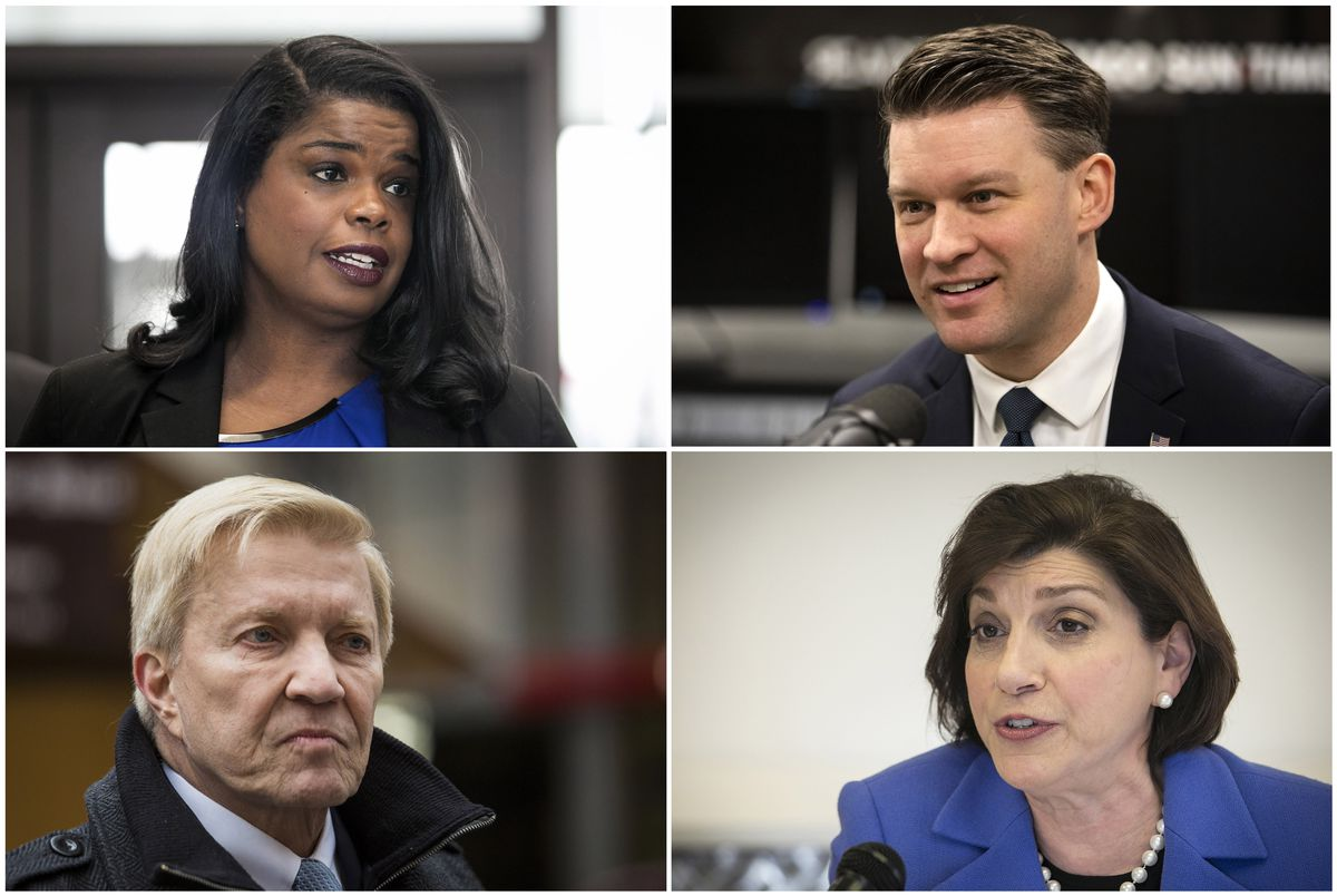 This combination of photos shows from clockwise from top left, candidates for Cook County State's Attorney Democrats Kim Foxx, Bill Conway, Donna More and Bob Fioretti.
