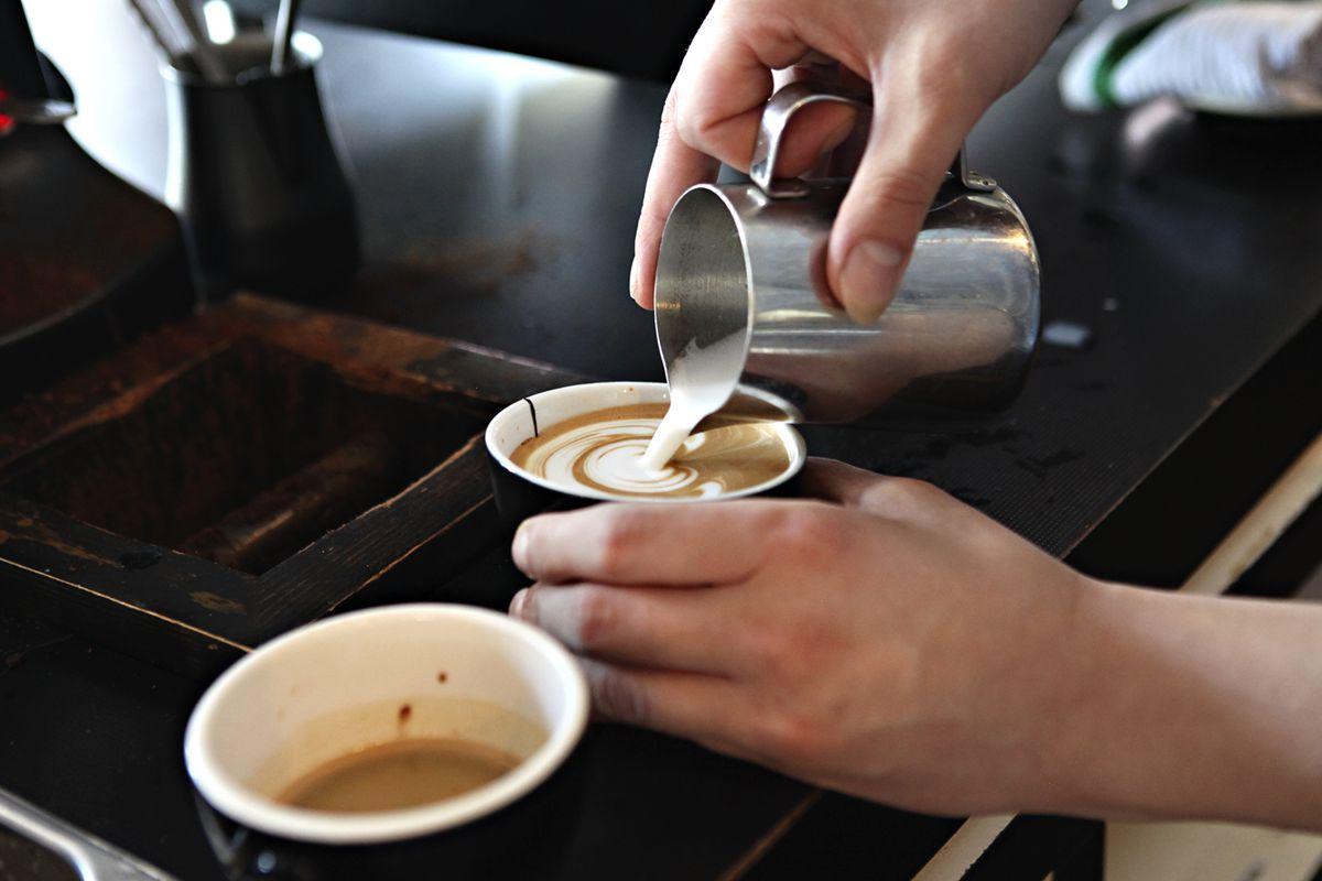 A little latte art inside Black Coffee & Waffle Bar