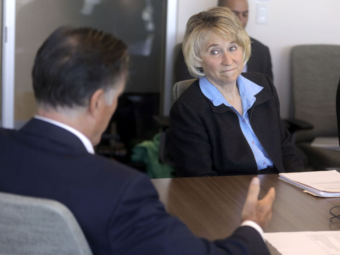 Rep. Susan Pulsipher, R-South Jordan, listens to Sen. Mitt Romney, R-Utah, talk about anti-vaping efforts during a roundtable discussion at Primary Children's Hospital in Salt Lake City on Thursday, Oct. 10, 2019.