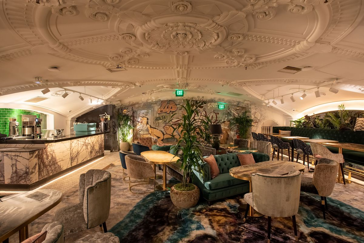 A lavish lounge on the second floor, complete with domes artistic ceiling.