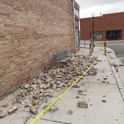 Bricks that fell of a building in Magna are picturedafter a 5.7 magnitude earthquake hit early Wednesday, March 18, 2020.