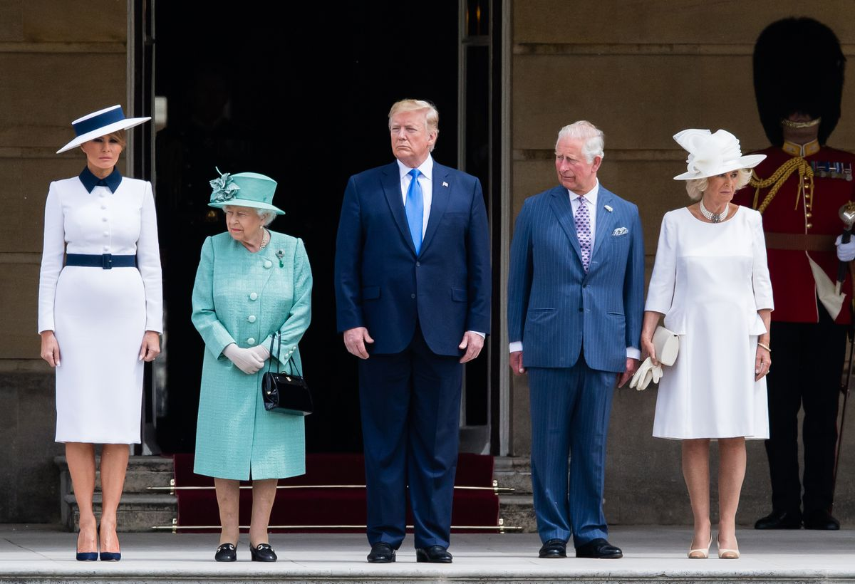 Queen Elizabeth II (second left) officially welcomes President Donald Trump (C) and First Lady Melania Trump (L) with Charles, Prince of Wales (second right), and Camilla, Duchess of Cornwall, (R) at Buckingham Palace on June 3, 2019, in London, England.