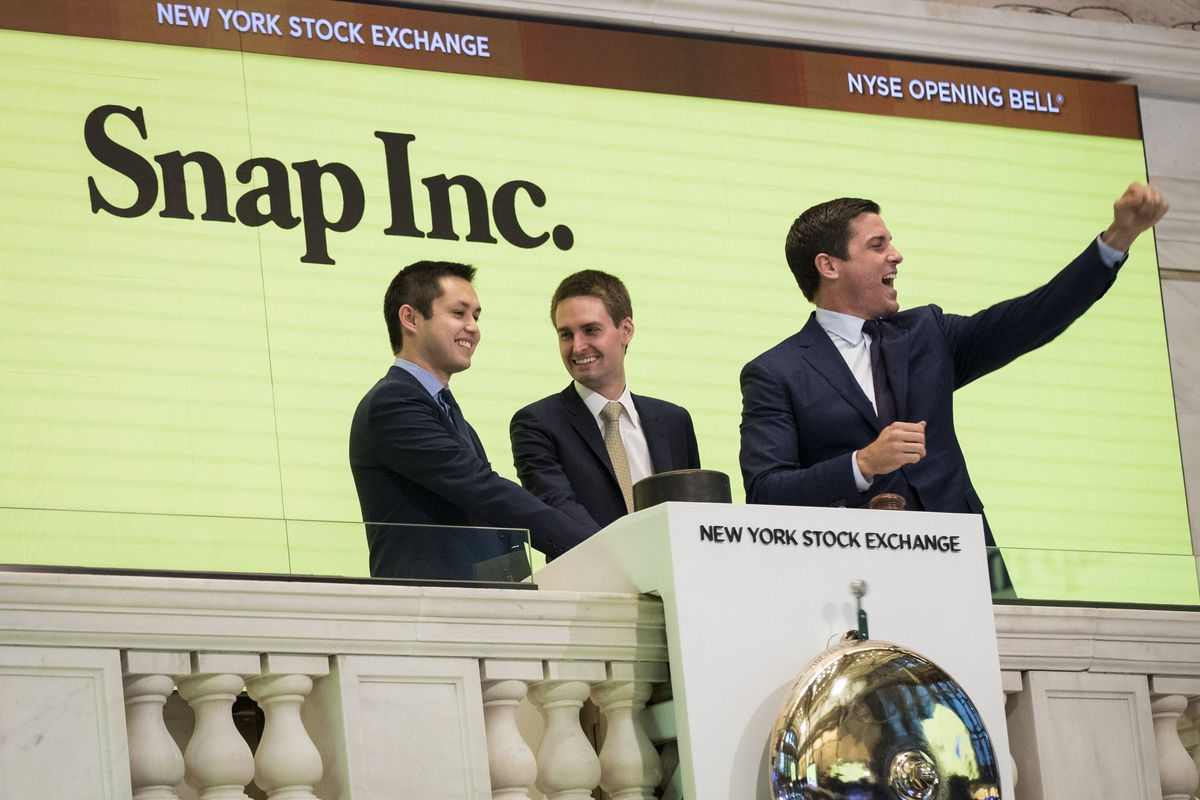 Snapchat co-founders CTO Bobby Murphy and CEO Evan Spiegel rang the bell at the New York Stock Exchange on the day Snap had its IPO.