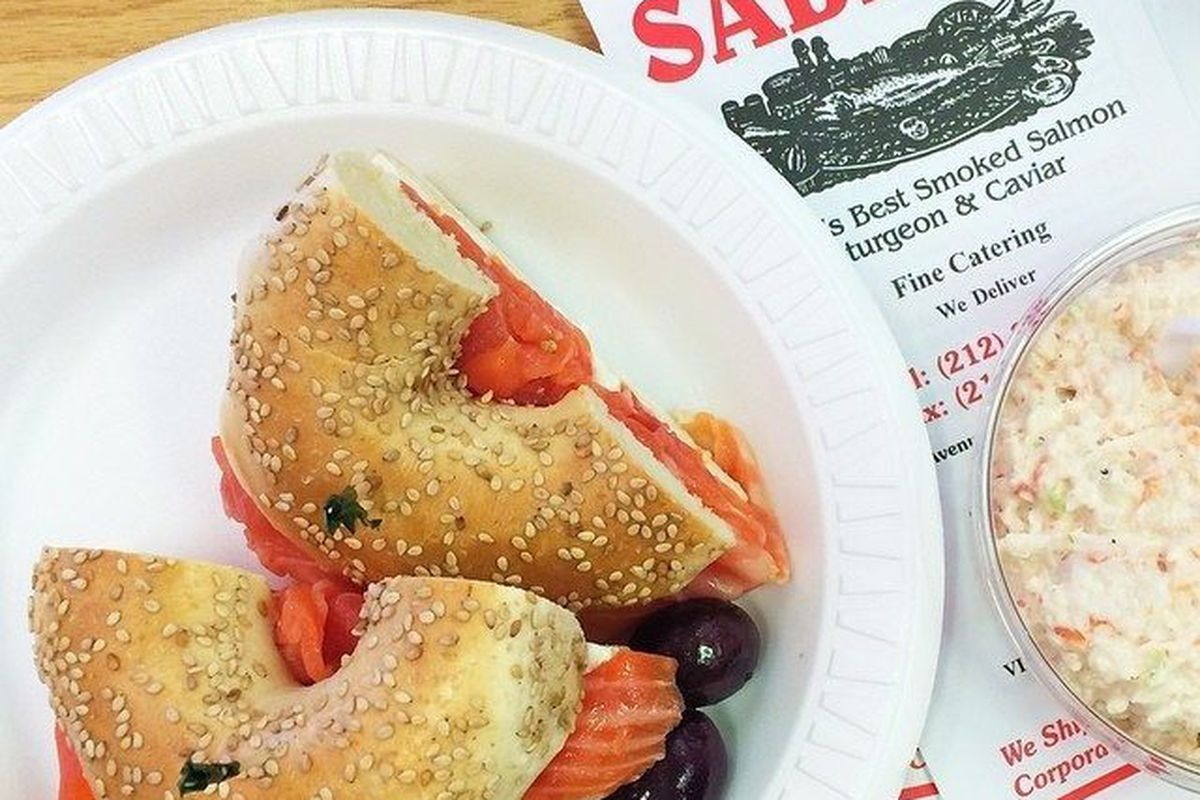 """Sesame Bagel with Lox at Sable's by <a href=""""https://www.flickr.com/photos/50772153@N07/14695885638/in/pool-eater/"""">Jenn"""