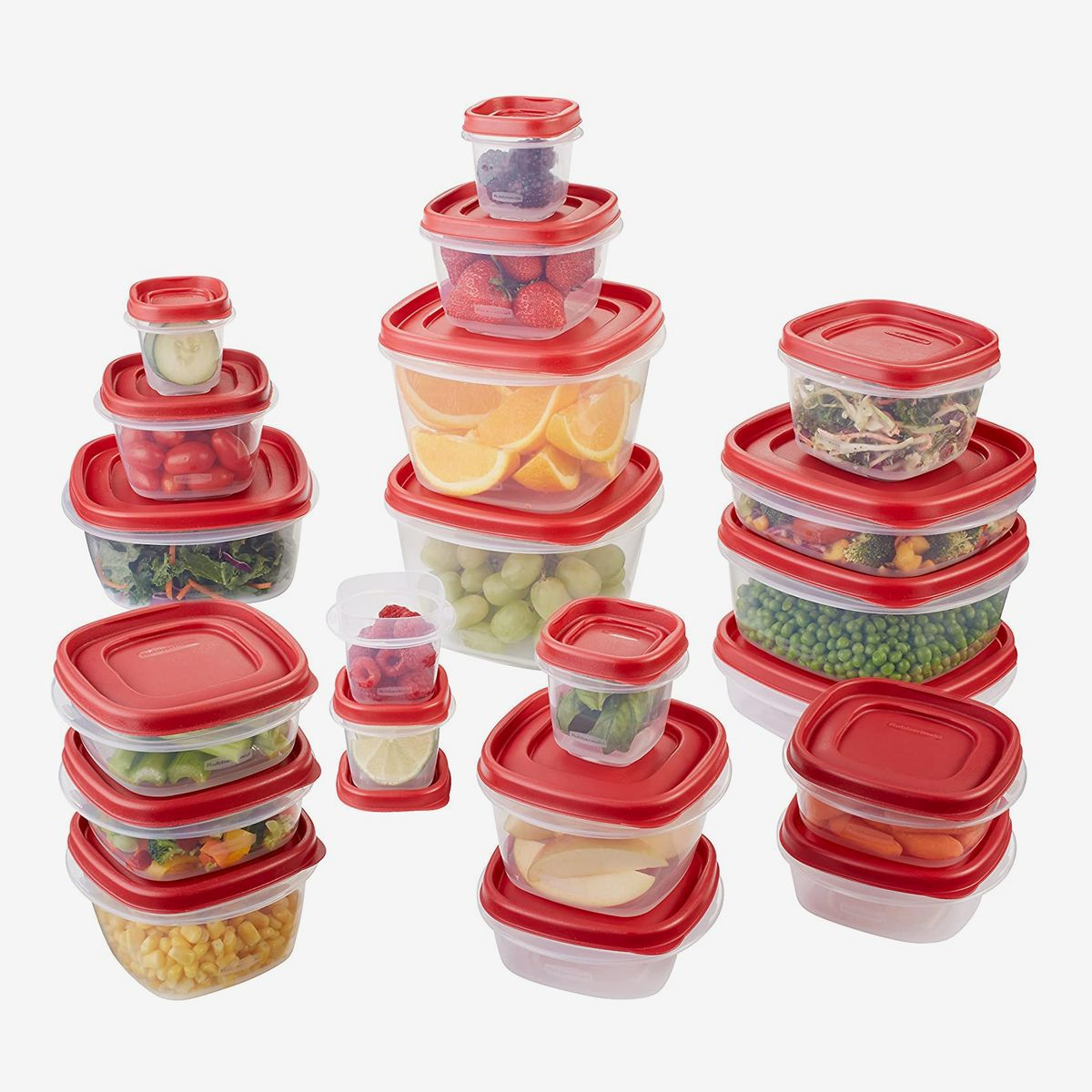 A set of assorted food storage containers with red lids