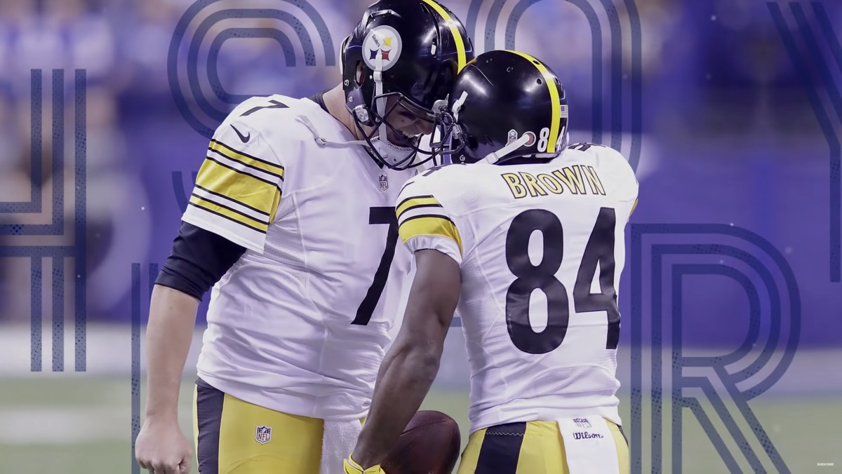 Former Steelers teammates Ben Roethlisberger and Antonio Brown share a celebration together in a game with a Beef History branding design.