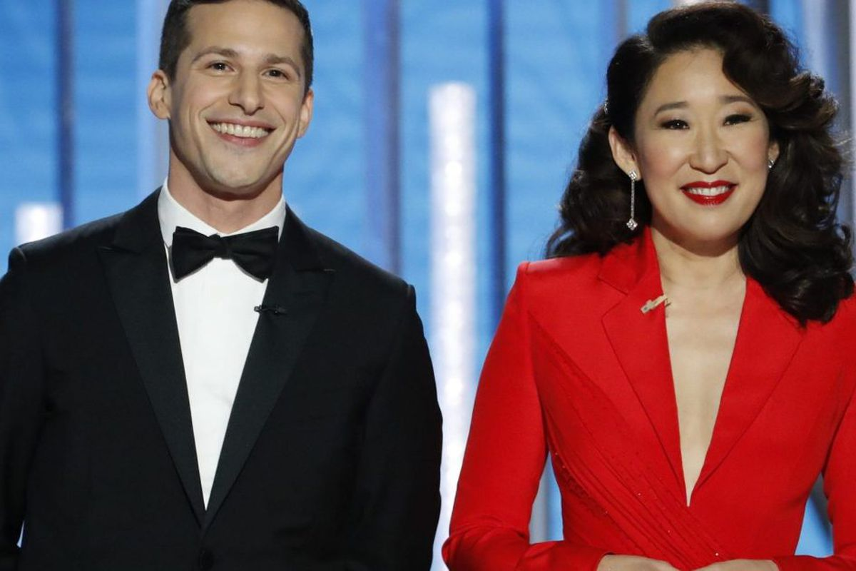 1ac887ff38 Hosts Andy Samberg and Sandra Oh speak onstage during the 76th Annual  Golden Globe Awards at The Beverly Hilton Hotel on Jan. 06 in Beverly  Hills