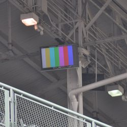 Monitor being tested in the upper deck on the first-base side -