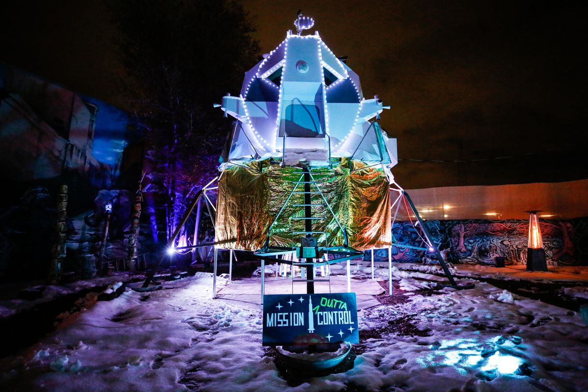 """An art project called """"Oasis Lunar Module"""" is on display at Lumen Land in Salt Lake City on Monday, Nov. 9, 2020."""